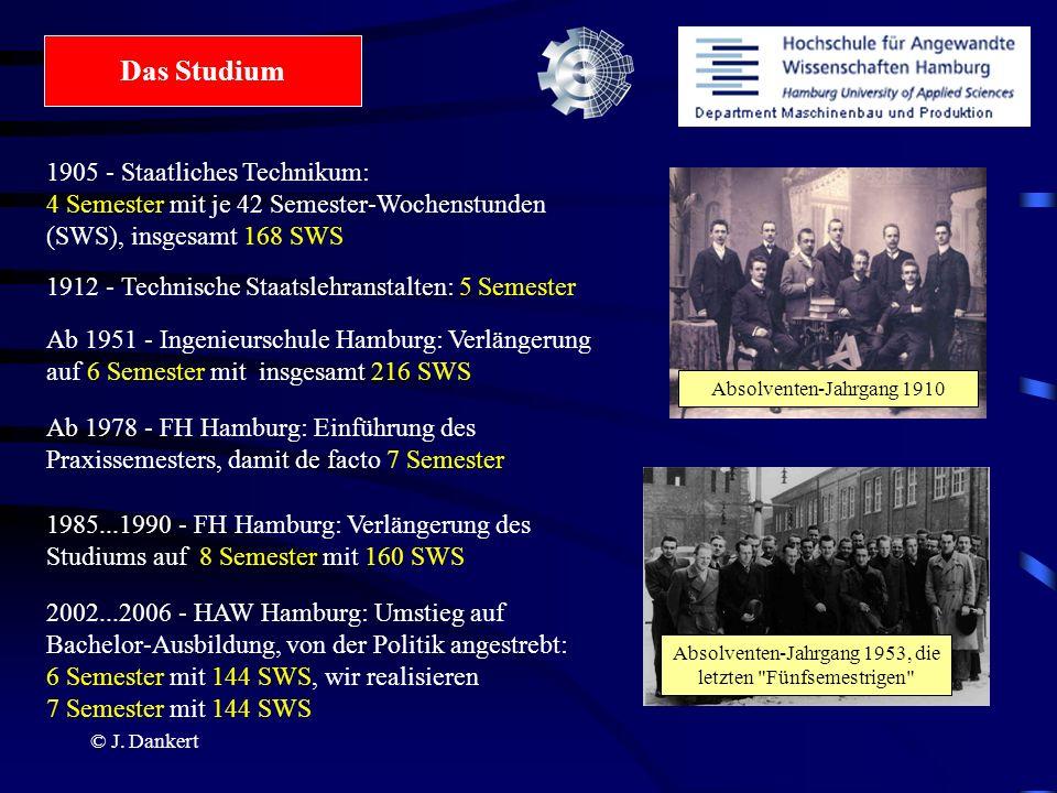 © J. Dankert Das Studium 1905 - Staatliches Technikum: 4 Semester mit je 42 Semester-Wochenstunden (SWS), insgesamt 168 SWS 1912 - Technische Staatsle