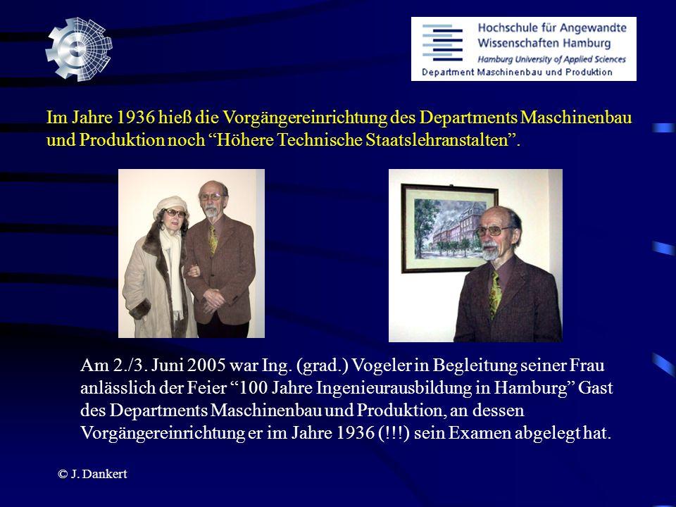 © J. Dankert Im Jahre 1936 hieß die Vorgängereinrichtung des Departments Maschinenbau und Produktion noch Höhere Technische Staatslehranstalten. Am 2.