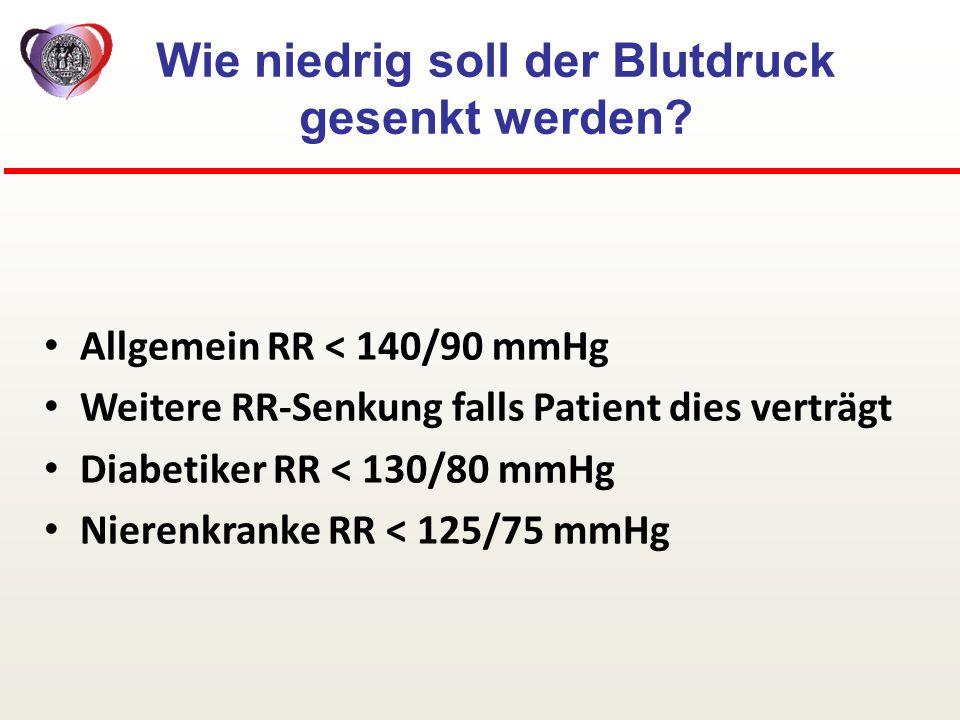 Allgemein RR < 140/90 mmHg Weitere RR-Senkung falls Patient dies verträgt Diabetiker RR < 130/80 mmHg Nierenkranke RR < 125/75 mmHg Wie niedrig soll d