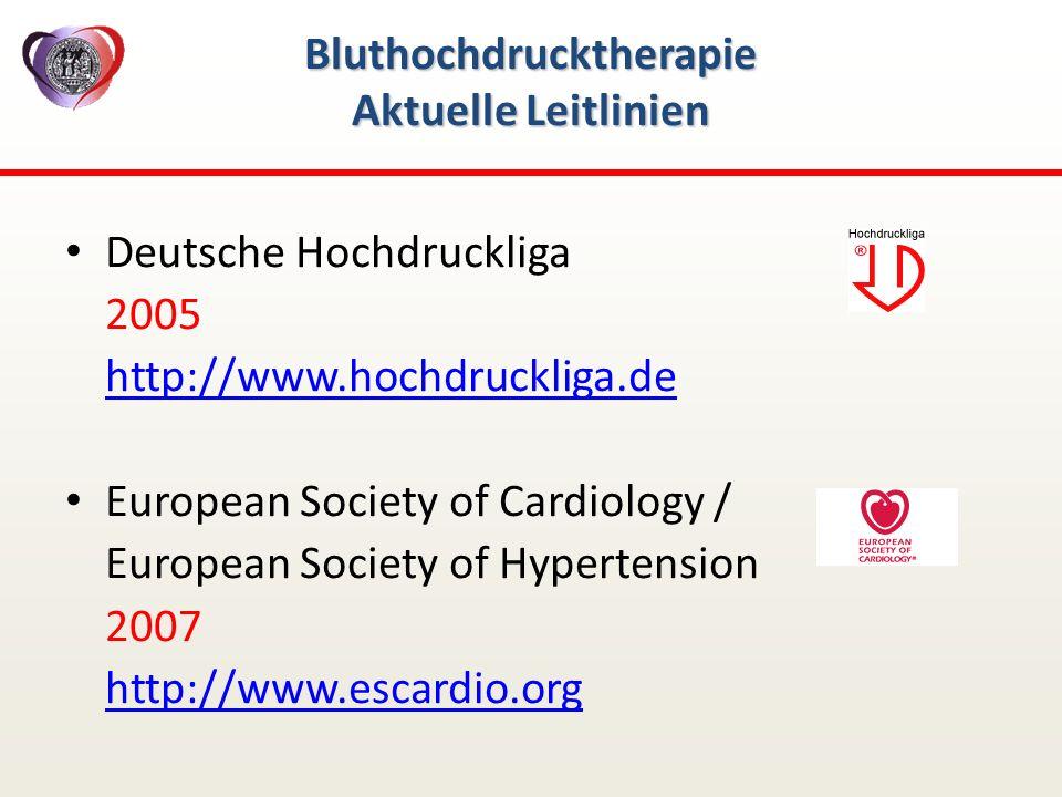 Bluthochdrucktherapie Aktuelle Leitlinien Deutsche Hochdruckliga 2005 http://www.hochdruckliga.de European Society of Cardiology / European Society of