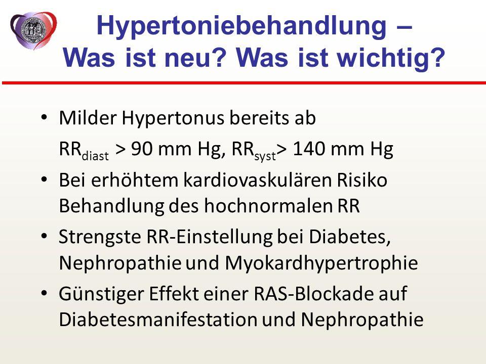 Hypertoniebehandlung – Was ist neu? Was ist wichtig? Milder Hypertonus bereits ab RR diast > 90 mm Hg, RR syst > 140 mm Hg Bei erhöhtem kardiovaskulär
