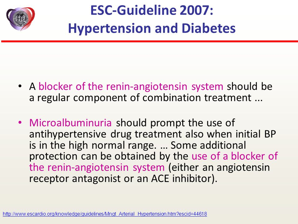 ESC-Guideline 2007: Hypertension and Diabetes A blocker of the renin-angiotensin system should be a regular component of combination treatment... Micr