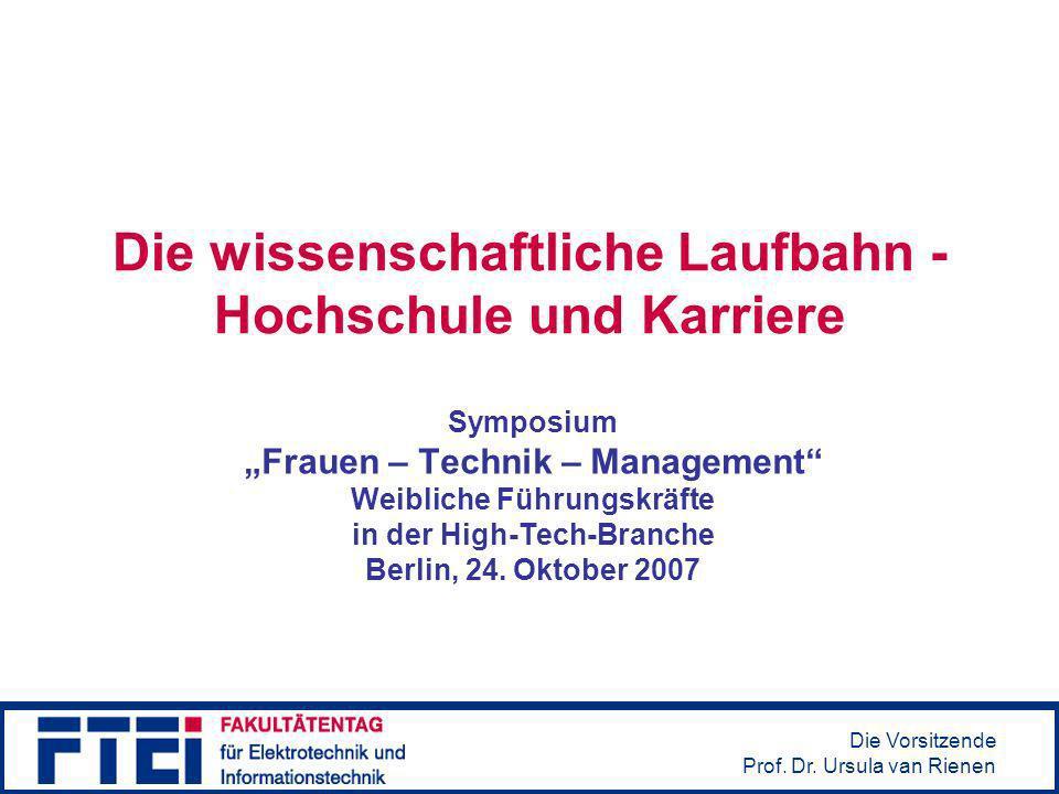 Die Vorsitzende Prof.Dr. Ursula van Rienen Hindernisse / Hürden Quelle: Y.