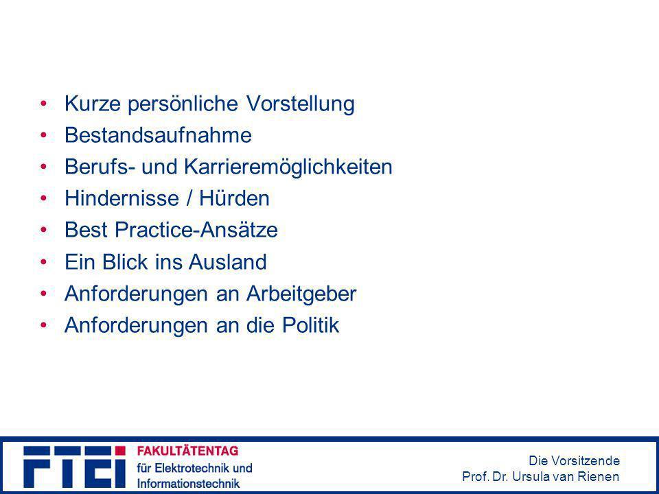 Die Vorsitzende Prof. Dr. Ursula van Rienen Kurze persönliche Vorstellung Bestandsaufnahme Berufs- und Karrieremöglichkeiten Hindernisse / Hürden Best