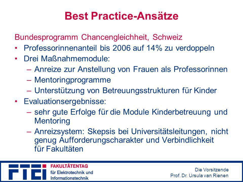 Die Vorsitzende Prof. Dr. Ursula van Rienen Best Practice-Ansätze Bundesprogramm Chancengleichheit, Schweiz Professorinnenanteil bis 2006 auf 14% zu v