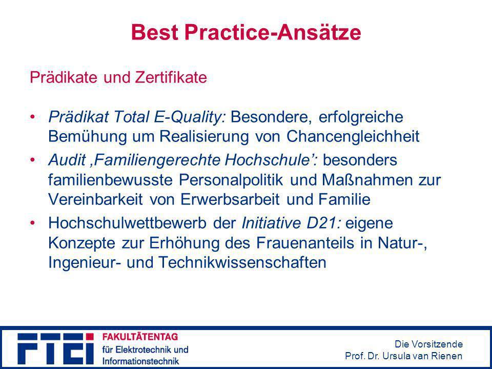 Die Vorsitzende Prof. Dr. Ursula van Rienen Best Practice-Ansätze Prädikate und Zertifikate Prädikat Total E-Quality: Besondere, erfolgreiche Bemühung
