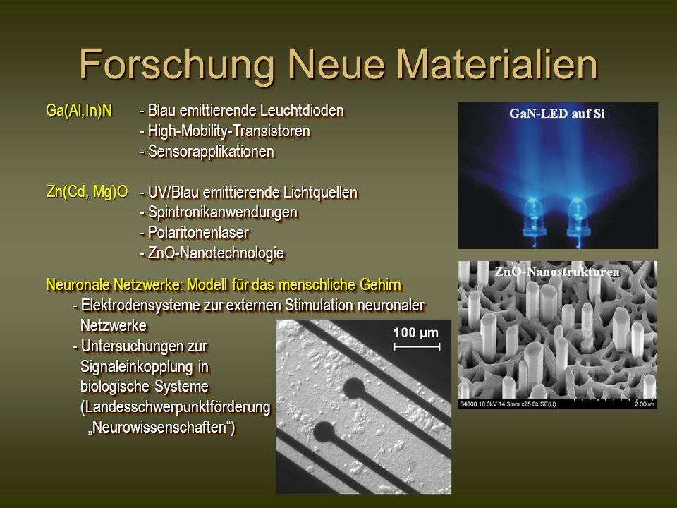 Forschung Neue Materialien - Blau emittierende Leuchtdioden - Blau emittierende Leuchtdioden - High-Mobility-Transistoren - High-Mobility-Transistoren - Sensorapplikationen - Sensorapplikationen - UV/Blau emittierende Lichtquellen - UV/Blau emittierende Lichtquellen - Spintronikanwendungen - Spintronikanwendungen - Polaritonenlaser - Polaritonenlaser - ZnO-Nanotechnologie - ZnO-Nanotechnologie - Blau emittierende Leuchtdioden - Blau emittierende Leuchtdioden - High-Mobility-Transistoren - High-Mobility-Transistoren - Sensorapplikationen - Sensorapplikationen - UV/Blau emittierende Lichtquellen - UV/Blau emittierende Lichtquellen - Spintronikanwendungen - Spintronikanwendungen - Polaritonenlaser - Polaritonenlaser - ZnO-Nanotechnologie - ZnO-Nanotechnologie Neuronale Netzwerke: Modell für das menschliche Gehirn - Elektrodensysteme zur externen Stimulation neuronaler - Elektrodensysteme zur externen Stimulation neuronaler Netzwerke Netzwerke - Untersuchungen zur - Untersuchungen zur Signaleinkopplung in Signaleinkopplung in biologische Systeme biologische Systeme (Landesschwerpunktförderung (Landesschwerpunktförderung Neurowissenschaften) Neurowissenschaften) Neuronale Netzwerke: Modell für das menschliche Gehirn - Elektrodensysteme zur externen Stimulation neuronaler - Elektrodensysteme zur externen Stimulation neuronaler Netzwerke Netzwerke - Untersuchungen zur - Untersuchungen zur Signaleinkopplung in Signaleinkopplung in biologische Systeme biologische Systeme (Landesschwerpunktförderung (Landesschwerpunktförderung Neurowissenschaften) Neurowissenschaften) Ga(Al,In)N Zn(Cd, Mg)O