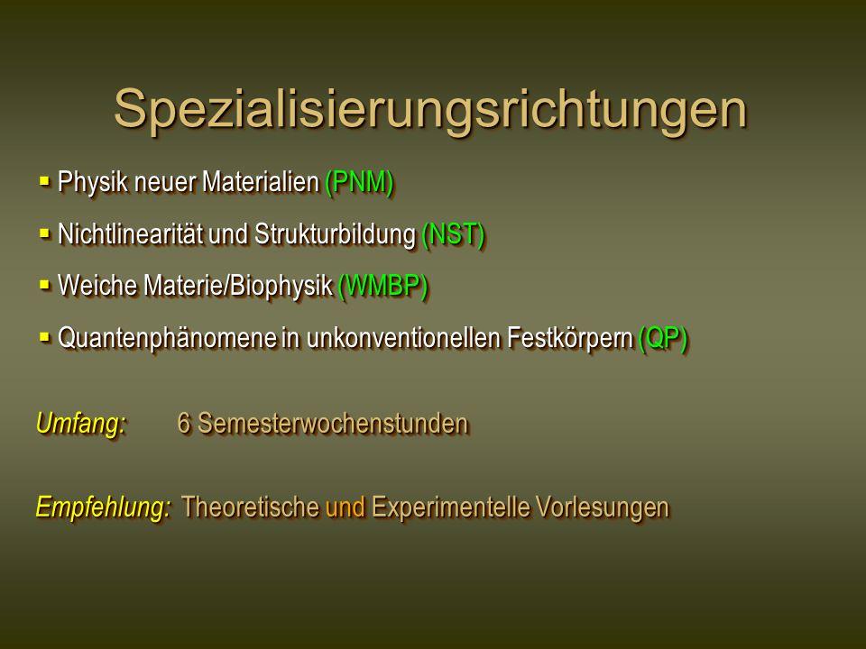 SpezialisierungsrichtungenSpezialisierungsrichtungen Physik neuer Materialien (PNM) Physik neuer Materialien (PNM) Nichtlinearität und Strukturbildung (NST) Nichtlinearität und Strukturbildung (NST) Weiche Materie/Biophysik (WMBP) Weiche Materie/Biophysik (WMBP) Quantenphänomene in unkonventionellen Festkörpern (QP) Quantenphänomene in unkonventionellen Festkörpern (QP) Physik neuer Materialien (PNM) Physik neuer Materialien (PNM) Nichtlinearität und Strukturbildung (NST) Nichtlinearität und Strukturbildung (NST) Weiche Materie/Biophysik (WMBP) Weiche Materie/Biophysik (WMBP) Quantenphänomene in unkonventionellen Festkörpern (QP) Quantenphänomene in unkonventionellen Festkörpern (QP) Umfang: 6 Semesterwochenstunden Empfehlung: Theoretische und Experimentelle Vorlesungen Umfang: 6 Semesterwochenstunden Empfehlung: Theoretische und Experimentelle Vorlesungen