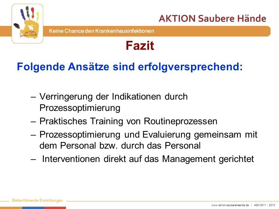 www.aktion-sauberehaende.de | ASH 2011 - 2013 Bettenführende Einrichtungen Keine Chance den Krankenhausinfektionen Fazit Folgende Ansätze sind erfolgv