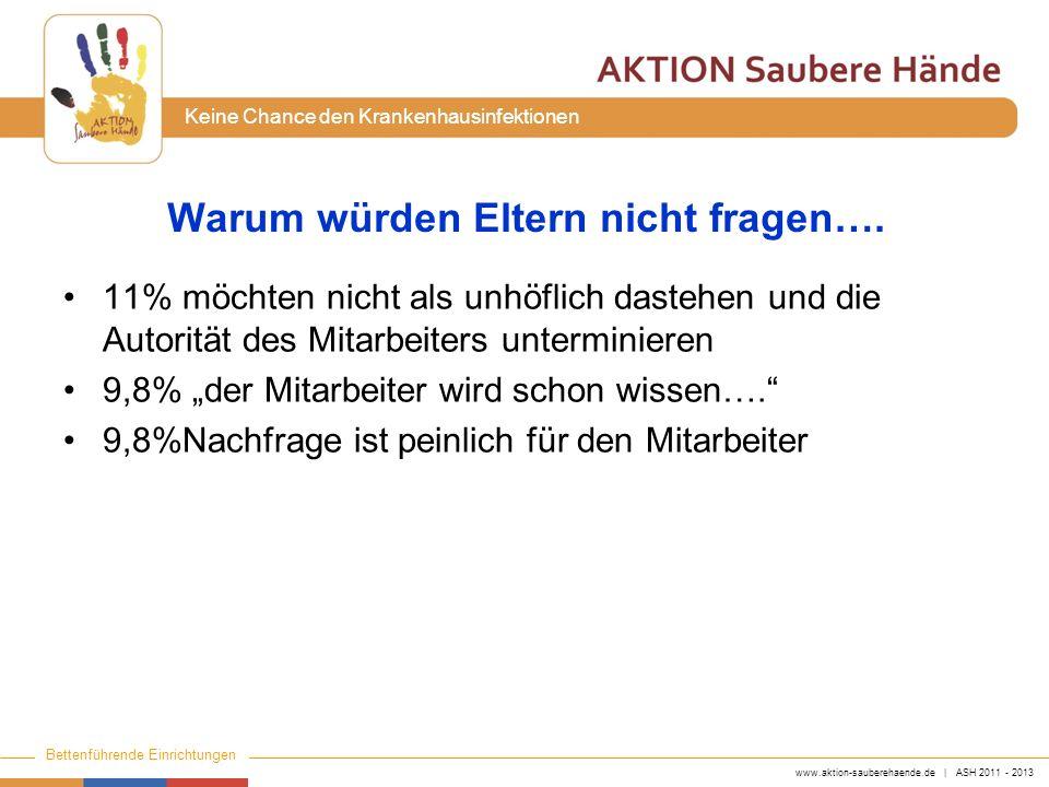 www.aktion-sauberehaende.de | ASH 2011 - 2013 Bettenführende Einrichtungen Keine Chance den Krankenhausinfektionen Warum würden Eltern nicht fragen….