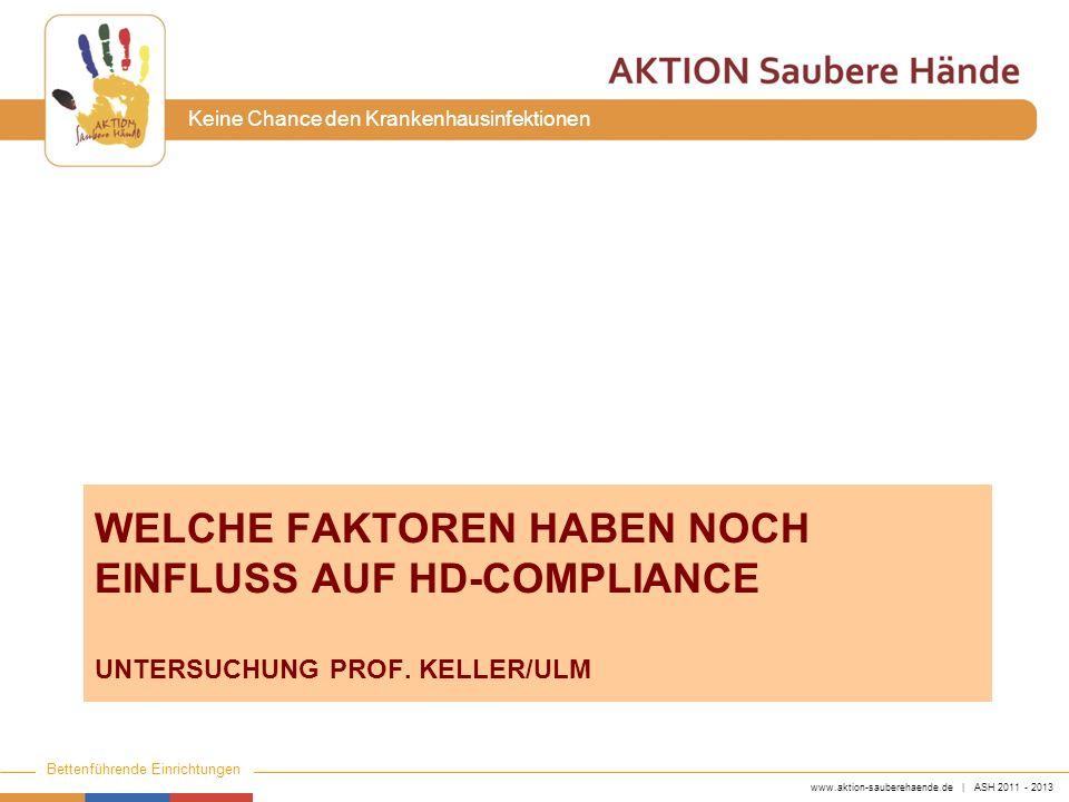 www.aktion-sauberehaende.de | ASH 2011 - 2013 Bettenführende Einrichtungen Keine Chance den Krankenhausinfektionen WELCHE FAKTOREN HABEN NOCH EINFLUSS
