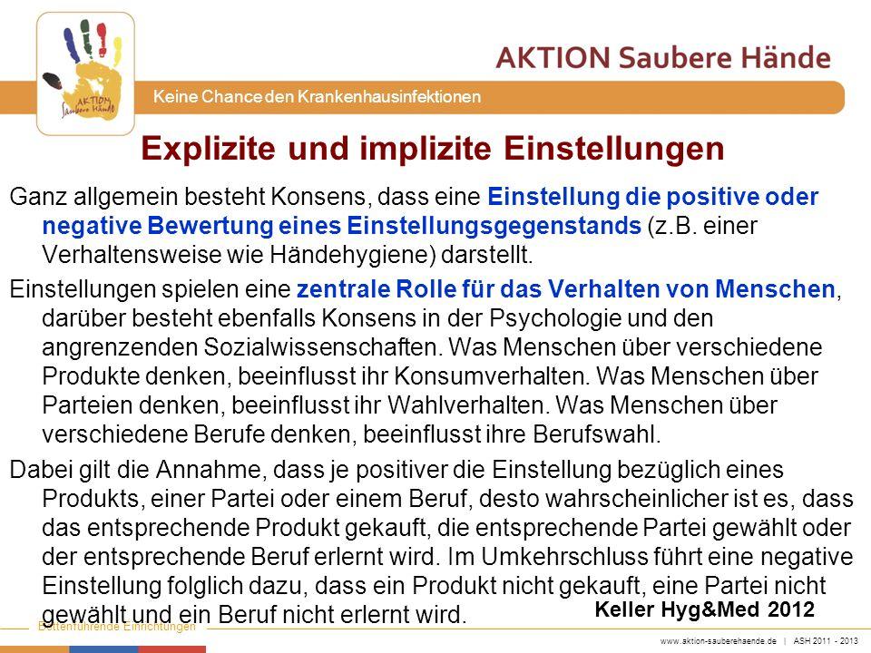 www.aktion-sauberehaende.de | ASH 2011 - 2013 Bettenführende Einrichtungen Keine Chance den Krankenhausinfektionen Ganz allgemein besteht Konsens, das