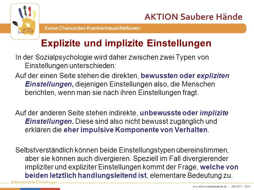 www.aktion-sauberehaende.de | ASH 2011 - 2013 Bettenführende Einrichtungen Keine Chance den Krankenhausinfektionen In der Sozialpsychologie wird daher