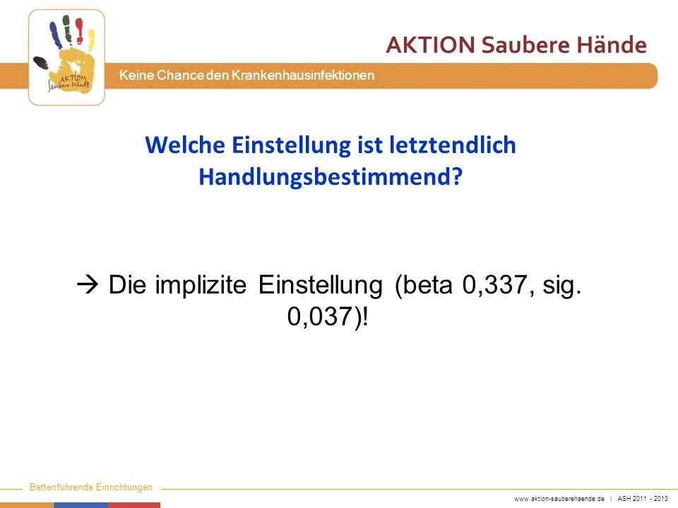 www.aktion-sauberehaende.de | ASH 2011 - 2013 Bettenführende Einrichtungen Keine Chance den Krankenhausinfektionen Welche Einstellung ist letztendlich
