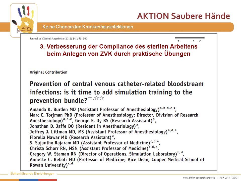 www.aktion-sauberehaende.de | ASH 2011 - 2013 Bettenführende Einrichtungen Keine Chance den Krankenhausinfektionen 3. Verbesserung der Compliance des