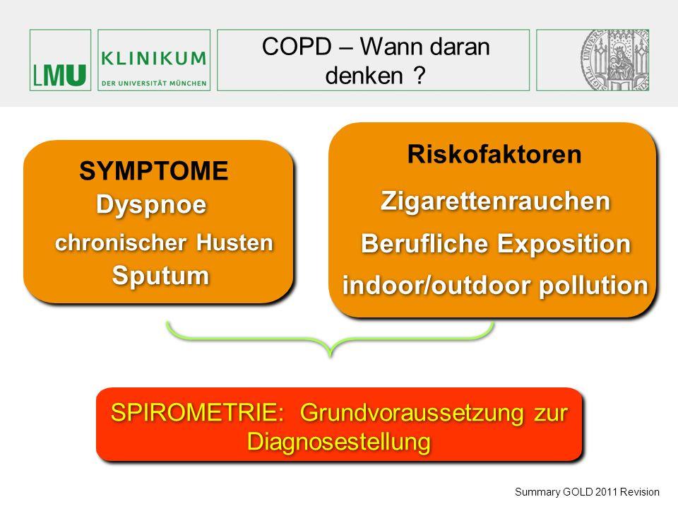 COPD – Wann daran denken ? Summary GOLD 2011 Revision SYMPTOME chronischer Husten Dyspnoe Riskofaktoren Zigarettenrauchen Berufliche Exposition indoor