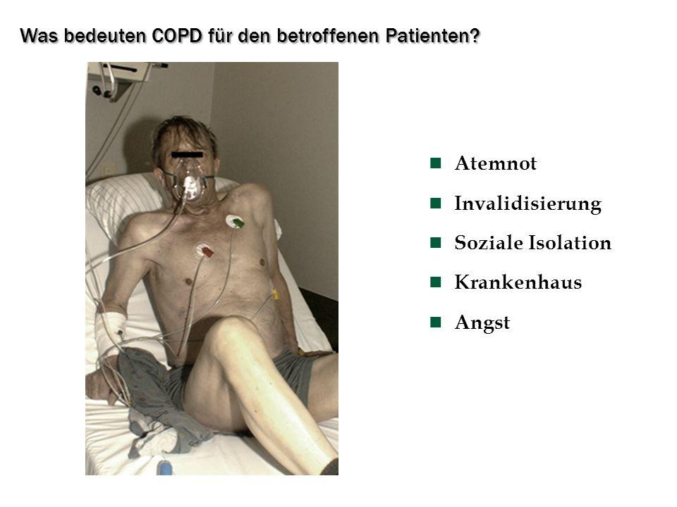 Was bedeuten COPD für den betroffenen Patienten? Atemnot Invalidisierung Soziale Isolation Krankenhaus Angst