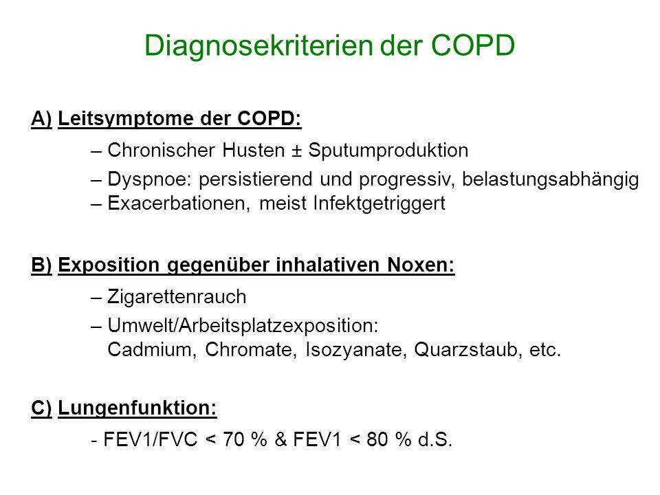Diagnosekriterien der COPD C) Lungenfunktion: - FEV1/FVC < 70 % & FEV1 < 80 % d.S. B) Exposition gegenüber inhalativen Noxen: – Zigarettenrauch – Umwe