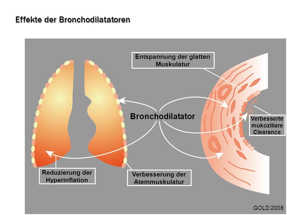 Bronchodilatator Entspannung der glatten Muskulatur Verbesserte mukoziliare Clearance Reduzierung der Hyperinflation Verbesserung der Atemmuskulatur G
