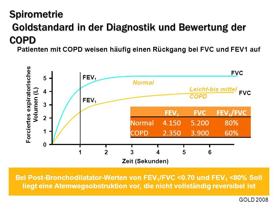 Spirometrie Goldstandard in der Diagnostik und Bewertung der COPD Bei Post-Bronchodilatator-Werten von FEV 1 /FVC <0.70 und FEV 1 <80% Soll liegt eine