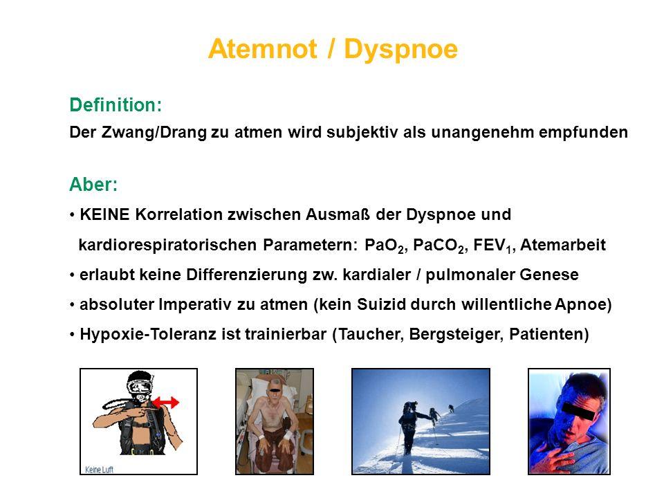 Atemnot / Dyspnoe Definition: Der Zwang/Drang zu atmen wird subjektiv als unangenehm empfunden Aber: KEINE Korrelation zwischen Ausmaß der Dyspnoe und