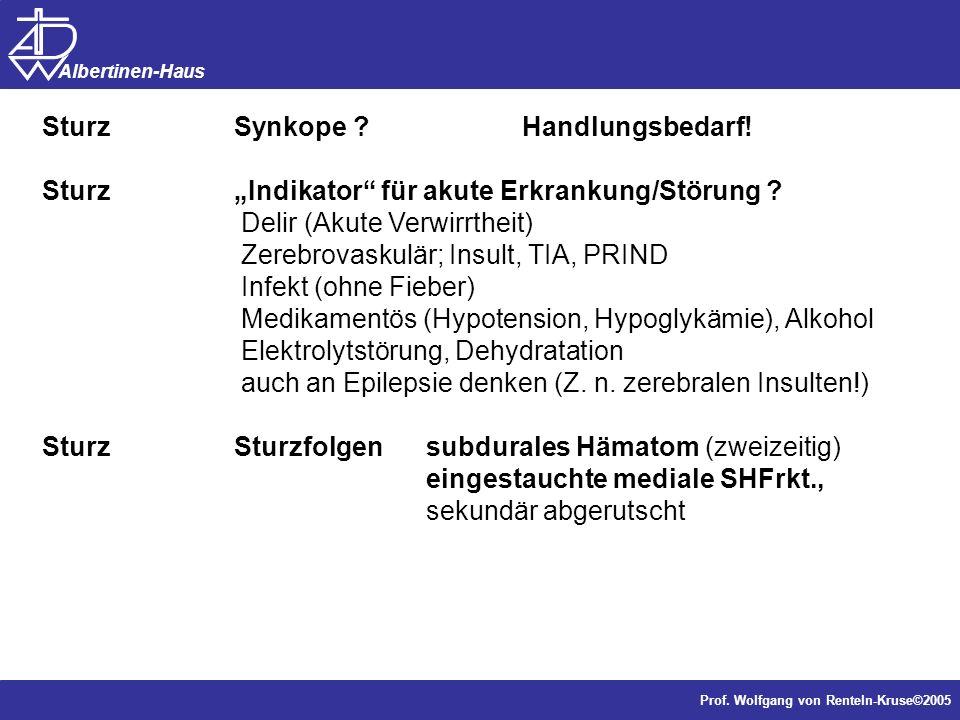 Dr. J. Anders, Forschung Prof. Wolfgang von Renteln-Kruse©2005 Albertinen-Haus SturzSynkope ? Handlungsbedarf! SturzIndikator für akute Erkrankung/Stö