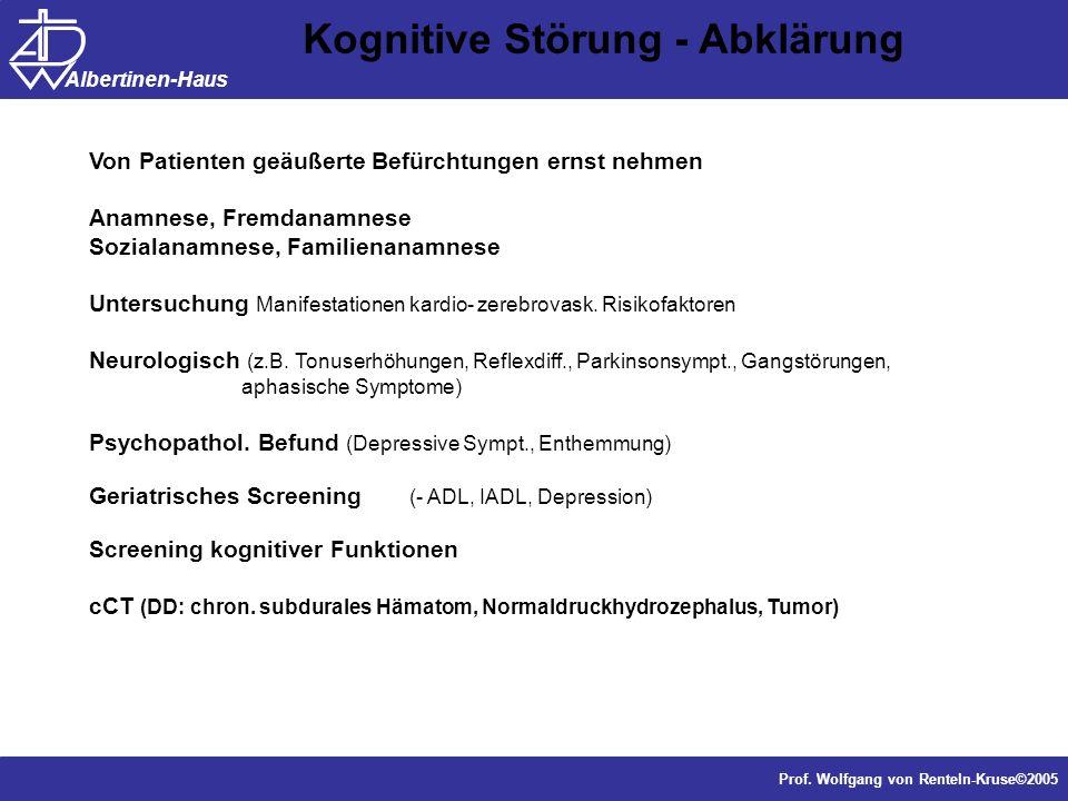 Dr. J. Anders, Forschung Prof. Wolfgang von Renteln-Kruse©2005 Albertinen-Haus Von Patienten geäußerte Befürchtungen ernst nehmen Anamnese, Fremdanamn