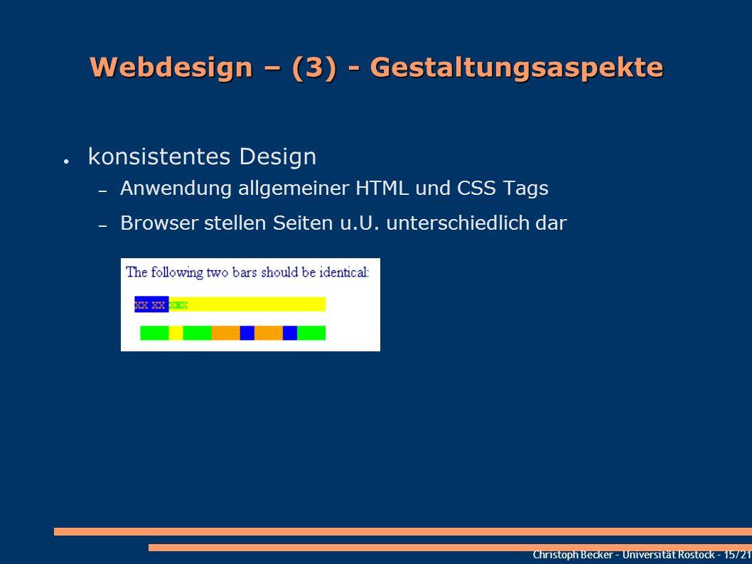 Christoph Becker – Universität Rostock - 15/21 Webdesign – (3) - Gestaltungsaspekte konsistentes Design – Anwendung allgemeiner HTML und CSS Tags – Br