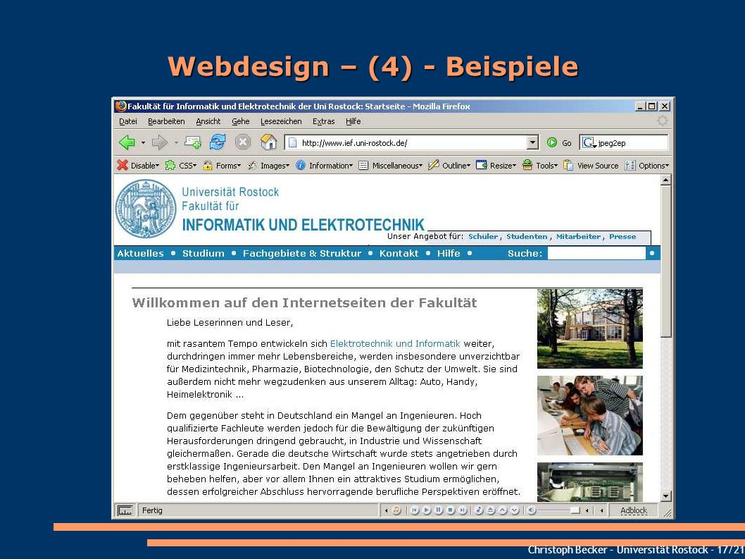 Christoph Becker – Universität Rostock - 17/21 Webdesign – (4) - Beispiele