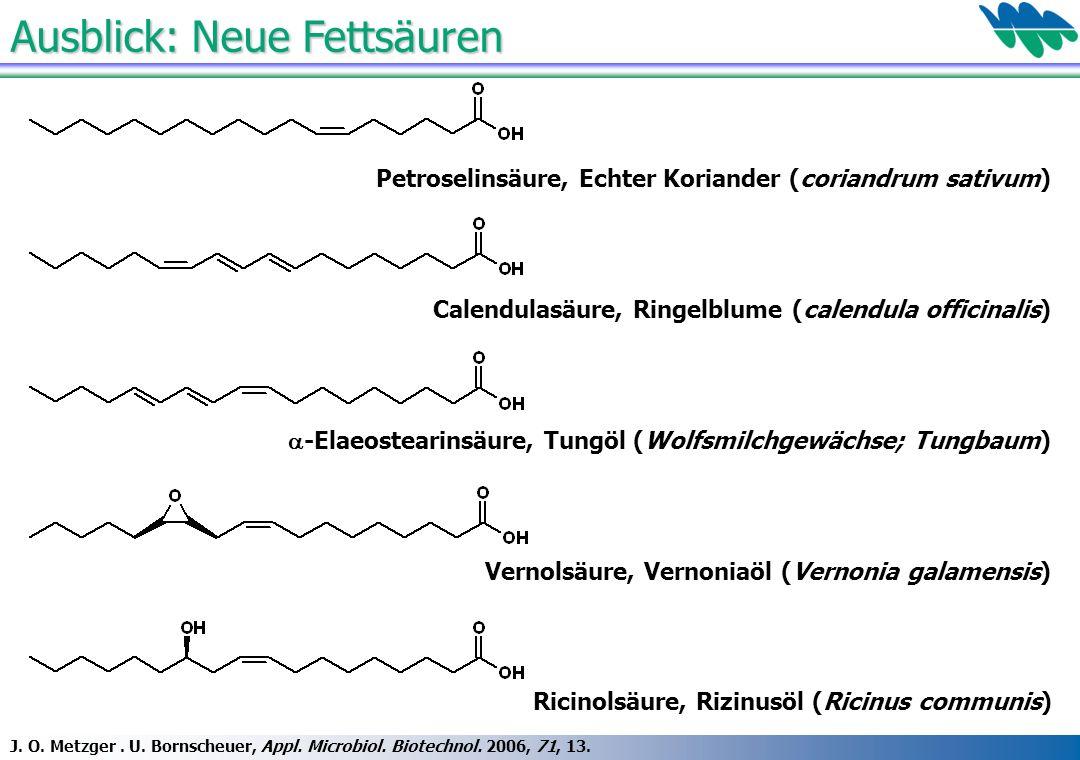 Ausblick: Neue Fettsäuren J. O. Metzger. U. Bornscheuer, Appl. Microbiol. Biotechnol. 2006, 71, 13. Vernolsäure, Vernoniaöl (Vernonia galamensis) -Ela