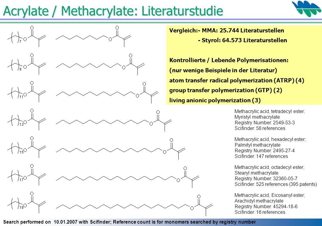 Acrylate / Methacrylate: Literaturstudie Methacrylic acid, octyl ester; Caprylic methacrylate Registry Number: 2157-01-9 Scifinder: 180 references Met