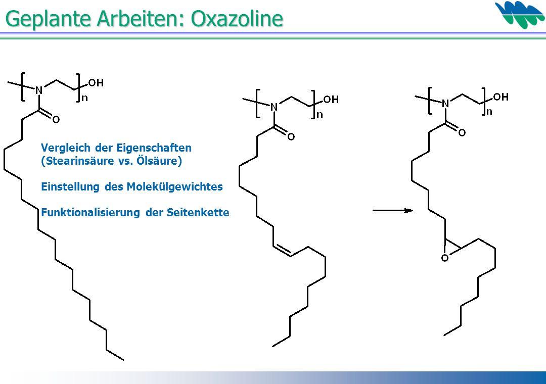 Geplante Arbeiten: Oxazoline Vergleich der Eigenschaften (Stearinsäure vs. Ölsäure) Einstellung des Molekülgewichtes Funktionalisierung der Seitenkett