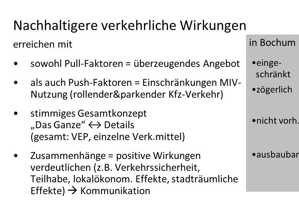 Nachhaltigere verkehrliche Wirkungen erreichen mit sowohl Pull-Faktoren = überzeugendes Angebot als auch Push-Faktoren = Einschränkungen MIV- Nutzung
