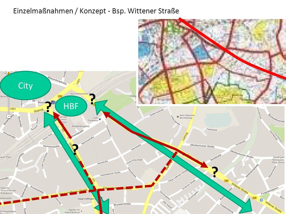 Warum ein Konzept? Einzelmaßnahmen / Konzept - Bsp. Wittener Straße ? ? ? ? City HBF
