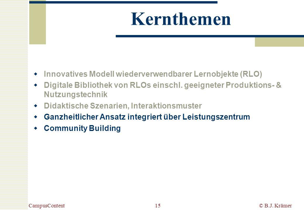 CampusContent© B.J. Krämer15 Kernthemen Innovatives Modell wiederverwendbarer Lernobjekte (RLO) Digitale Bibliothek von RLOs einschl. geeigneter Produ