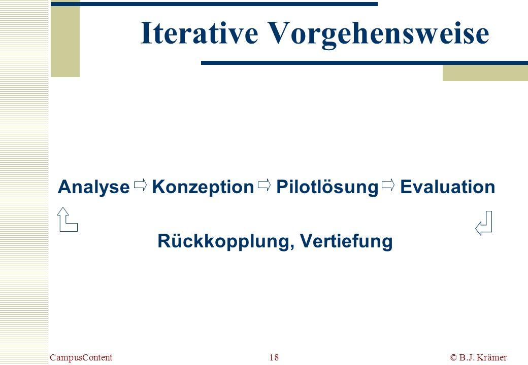 CampusContent© B.J. Krämer18 Iterative Vorgehensweise Analyse Konzeption Pilotlösung Evaluation Rückkopplung, Vertiefung