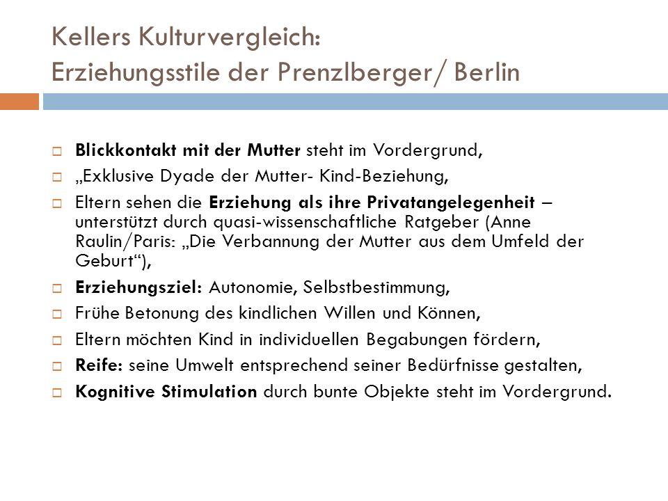 Kellers Kulturvergleich: Erziehungsstile der Prenzlberger/ Berlin Blickkontakt mit der Mutter steht im Vordergrund, Exklusive Dyade der Mutter- Kind-B