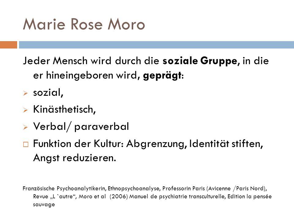 Marie Rose Moro Jeder Mensch wird durch die soziale Gruppe, in die er hineingeboren wird, geprägt: sozial, Kinästhetisch, Verbal/ paraverbal Funktion