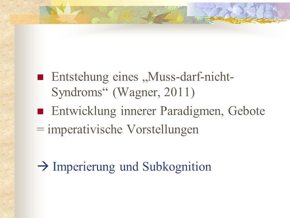Entstehung eines Muss-darf-nicht- Syndroms (Wagner, 2011) Entwicklung innerer Paradigmen, Gebote = imperativische Vorstellungen Imperierung und Subkog