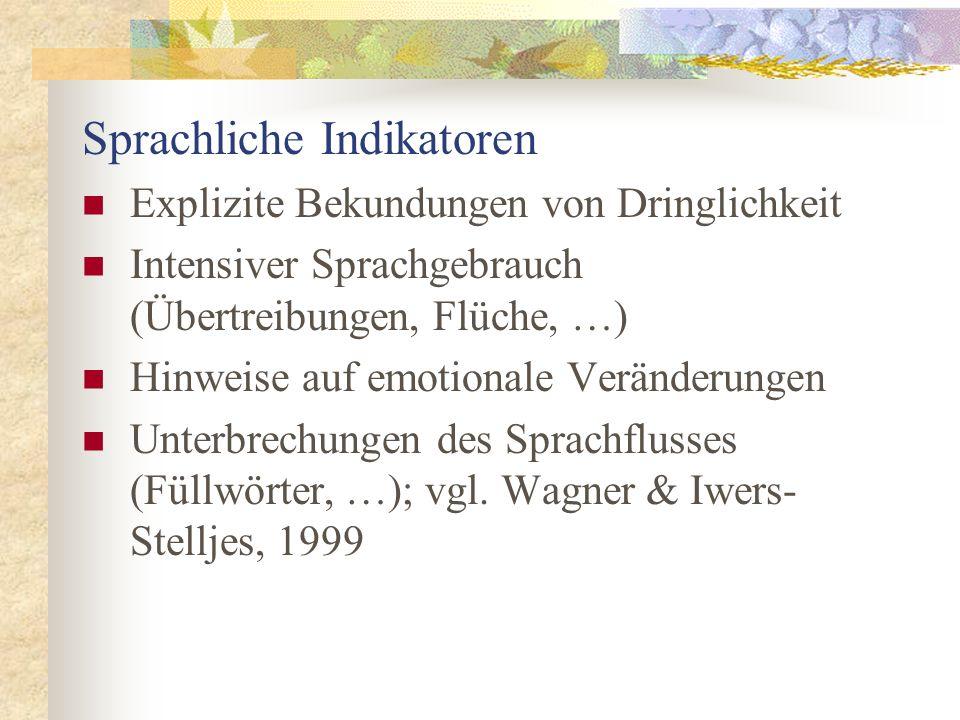 Sprachliche Indikatoren Explizite Bekundungen von Dringlichkeit Intensiver Sprachgebrauch (Übertreibungen, Flüche, …) Hinweise auf emotionale Veränder