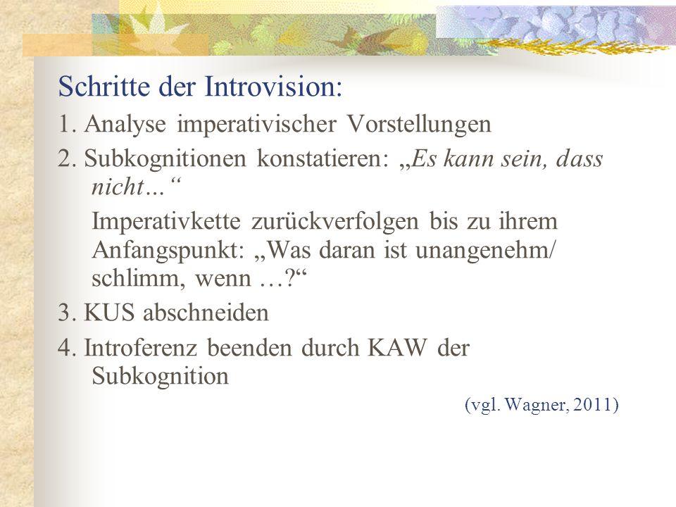 Schritte der Introvision: 1. Analyse imperativischer Vorstellungen 2. Subkognitionen konstatieren: Es kann sein, dass nicht… Imperativkette zurückverf