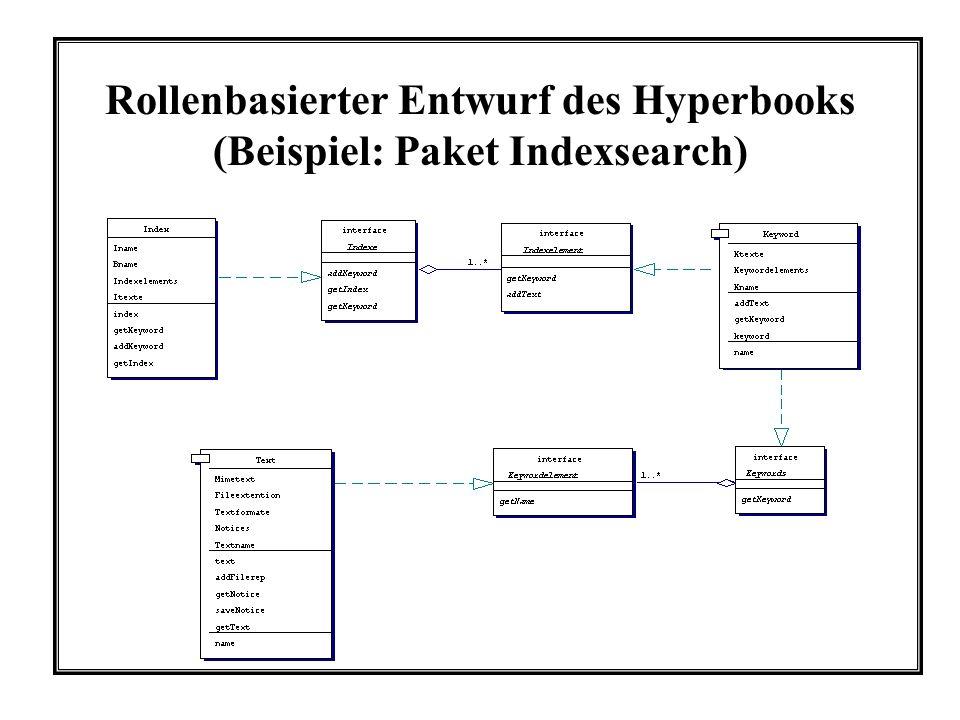 Rollenbasierter Entwurf des Hyperbooks (Beispiel: Paket Indexsearch)