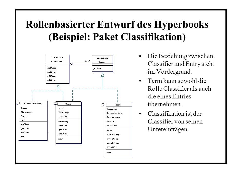 Rollenbasierter Entwurf des Hyperbooks (Beispiel: Paket Classifikation) Die Beziehung zwischen Classifier und Entry steht im Vordergrund.