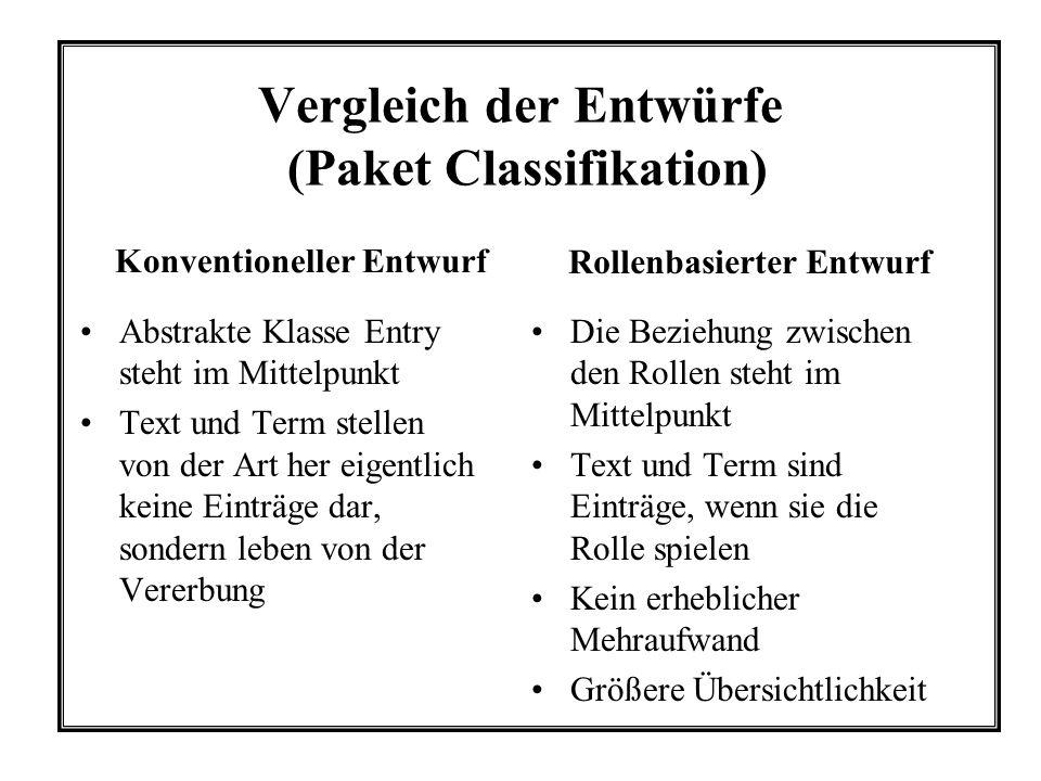Vergleich der Entwürfe (Paket Classifikation) Abstrakte Klasse Entry steht im Mittelpunkt Text und Term stellen von der Art her eigentlich keine Eintr