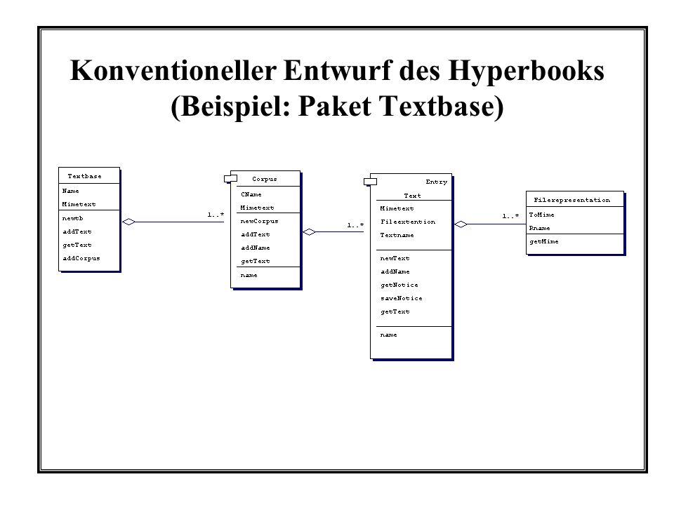 Konventioneller Entwurf des Hyperbooks (Beispiel: Paket Textbase)