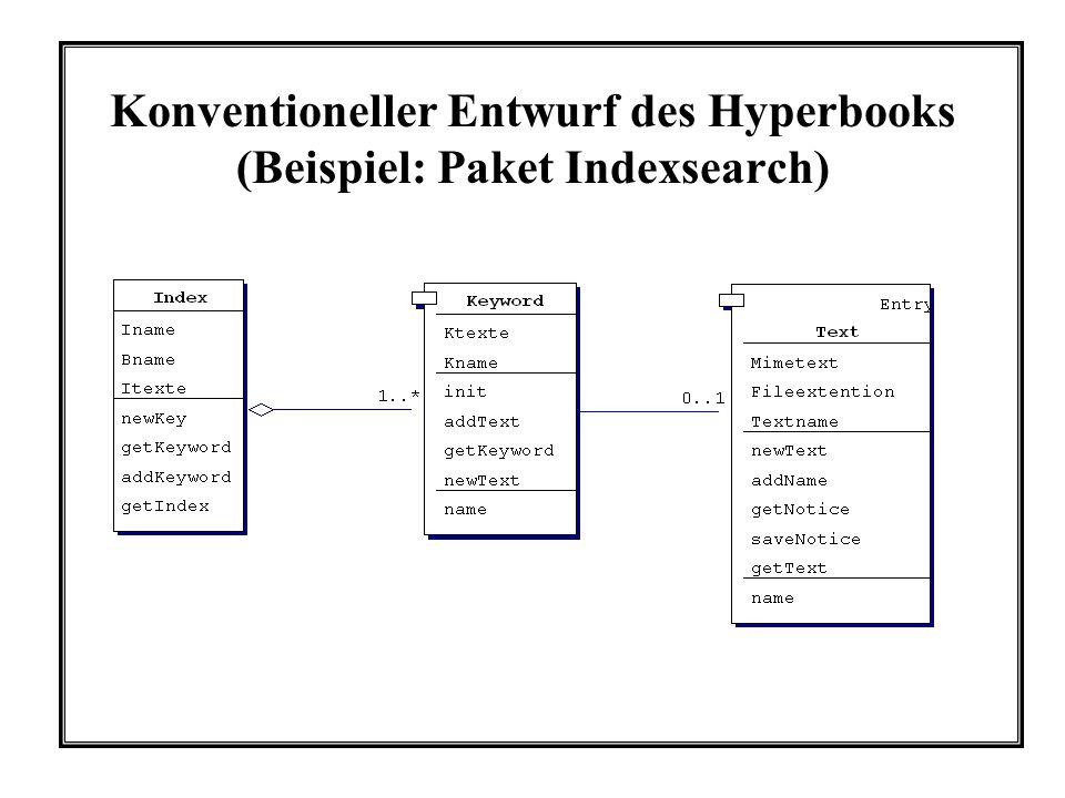 Konventioneller Entwurf des Hyperbooks (Beispiel: Paket Indexsearch)