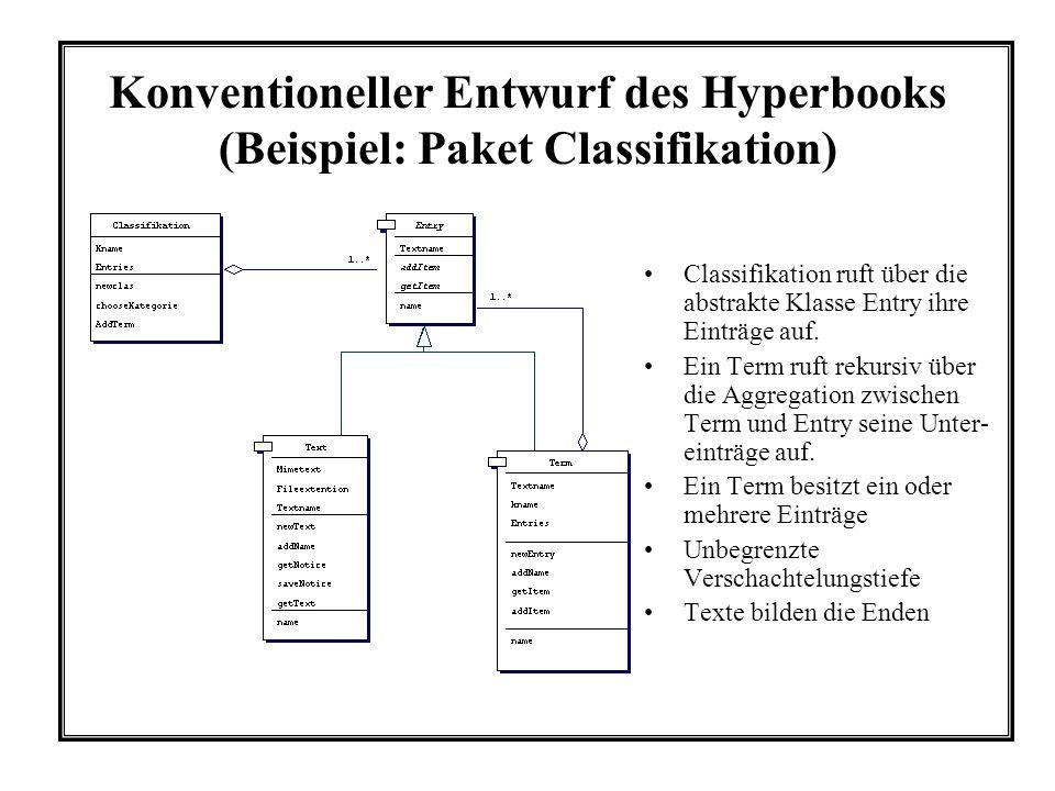 Konventioneller Entwurf des Hyperbooks (Beispiel: Paket Classifikation) Classifikation ruft über die abstrakte Klasse Entry ihre Einträge auf. Ein Ter