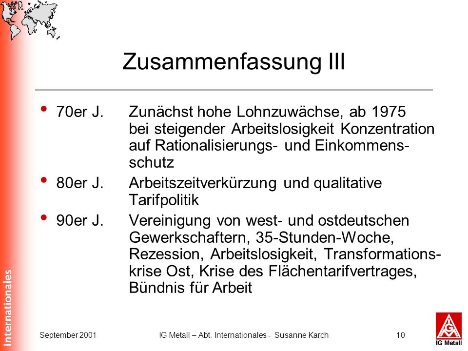 Internationales September 2001IG Metall – Abt. Internationales - Susanne Karch9 Zusammenfassung II 1949Gründung der IG Metall 1949Gründungskongreß des