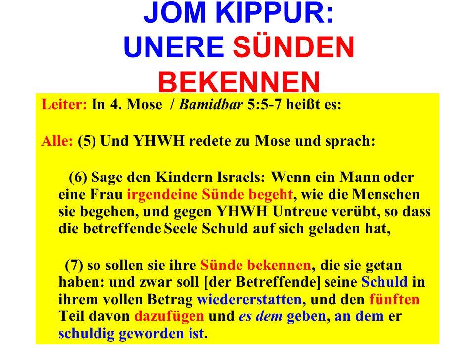 JOM KIPPUR: UNERE SÜNDEN BEKENNEN Leiter: In 4. Mose / Bamidbar 5:5-7 heißt es: Alle: (5) Und YHWH redete zu Mose und sprach: (6) Sage den Kindern Isr