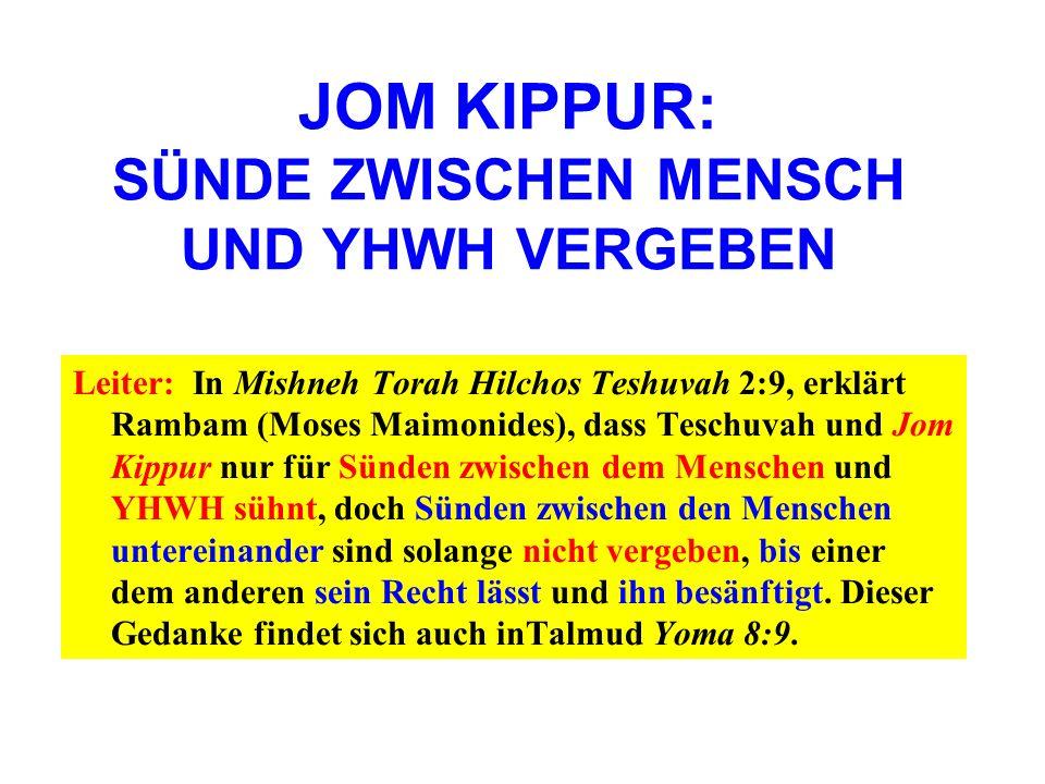 JOM KIPPUR: SÜNDE ZWISCHEN MENSCH UND YHWH VERGEBEN Leiter: In Mishneh Torah Hilchos Teshuvah 2:9, erklärt Rambam (Moses Maimonides), dass Teschuvah u